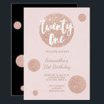 """Faux rose gold polka dots blush 21st Birthday Invitation<br><div class=""""desc"""">Faux rose gold glitter polka dots confetti splatters blush pink 21st Birthday A modern 21st Birthday party invitation with modern, original and simple faux rose gold glitter invitation with rose gold big polka dots and hand written style brush typography on a fully customizable pastel blush pink color background and black...</div>"""