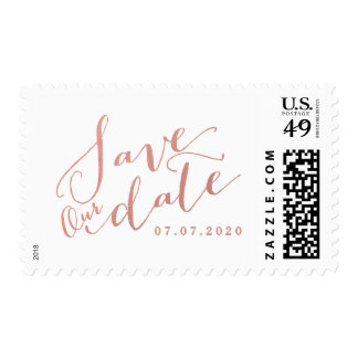 Faux Rose Gold Popular Script Save Our Date Postage