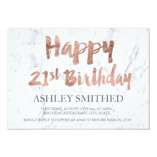 Faux rose gold script marble 21st birthday party card