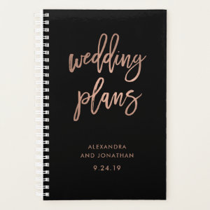 Faux Rose Gold Script on Black | Wedding Planner