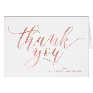 Faux Rose Gold Script Thank You Card