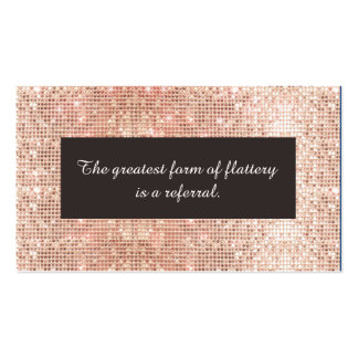 Faux Rose Gold Sequins Cosmetology Referral Card Business Card