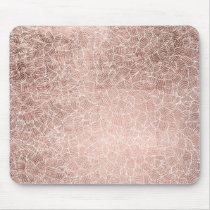 Faux rose gold stripes geometric abstract pattern mouse pad