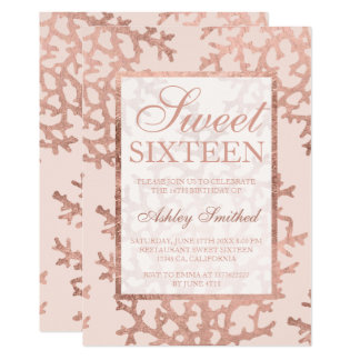Faux rose gold summer coral blush chic Sweet 16 Card