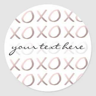 faux rose gold typography hugs and kisses xoxo classic round sticker