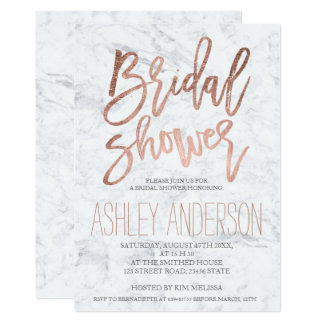 Faux rose gold typography marble bridal shower card