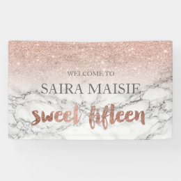 Faux Rose gold typography marble Sweet 15 party Banner