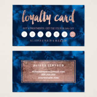 Faux rose gold typography navy watercolor loyalty business card