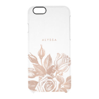 Faux Rose Gold Vintage Tea Roses Clear Clear iPhone 6/6S Case