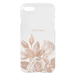 Faux Rose Gold Vintage Tea Roses Clear iPhone 7 Case