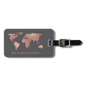 christine592 Faux Rose Gold World Map on Smoky Gray Bag Tag