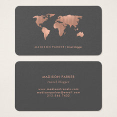 Faux Rose Gold World Map On Smoky Gray Business Card at Zazzle