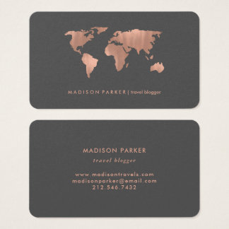 Faux Rose Gold World Map on Smoky Gray Business Card