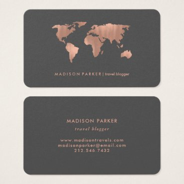 christine592 Faux Rose Gold World Map on Smoky Gray Business Card