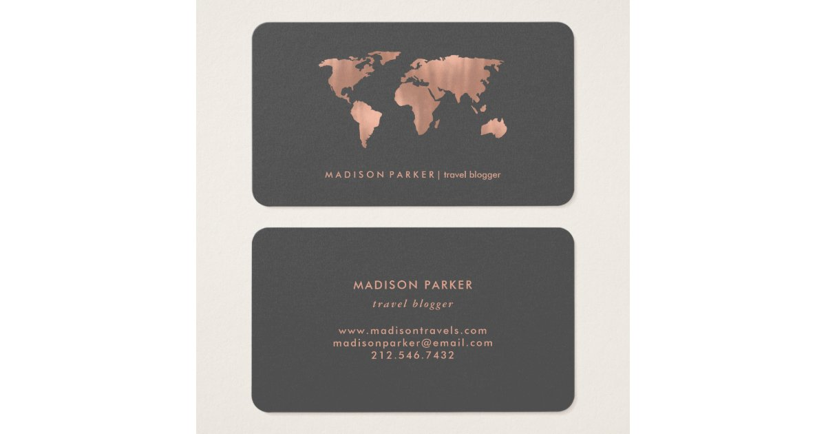 Faux Rose Gold World Map on Smoky Gray Business Card | Zazzle.com