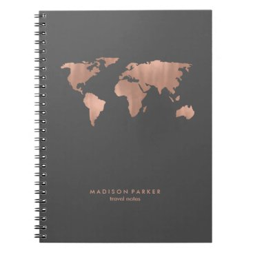 christine592 Faux Rose Gold World Map on Smoky Gray Notebook