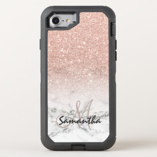 Faux rose pink glitter ombre white marble OtterBox defender iPhone 8/7 case