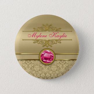 Faux Ruby Red Gemstone Metallic Shiny Gold Damask Button