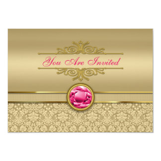 Faux Ruby Red Gemstone Metallic Shiny Gold Damask Card