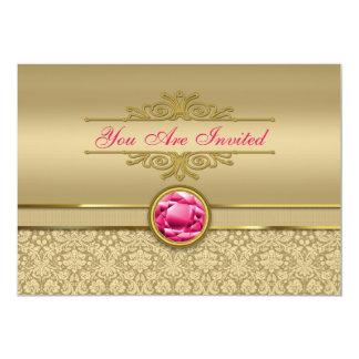Faux Ruby Red Gemstone Metallic Shiny Gold Damask Card