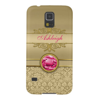 Faux Ruby Red Gemstone Metallic Shiny Gold Damask Galaxy S5 Covers