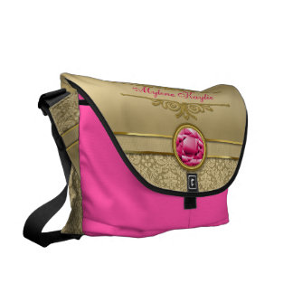 Faux Ruby Red Gemstone Metallic Shiny Gold Damask Courier Bag
