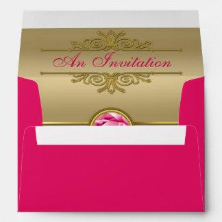 Faux Ruby Red Gemstone Metallic Shiny Gold Damask Envelopes