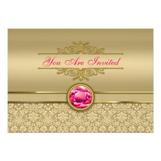 Faux Ruby Red Gemstone Metallic Shiny Gold Damask Invitations