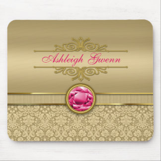Faux Ruby Red Gemstone Metallic Shiny Gold Damask Mouse Pad