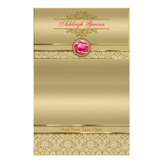 Faux Ruby Red Gemstone Metallic Shiny Gold Damask Stationery