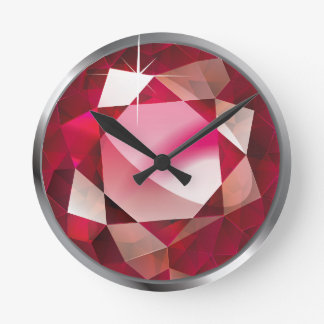 "Faux-""Ruby"" Stone Round Clock"