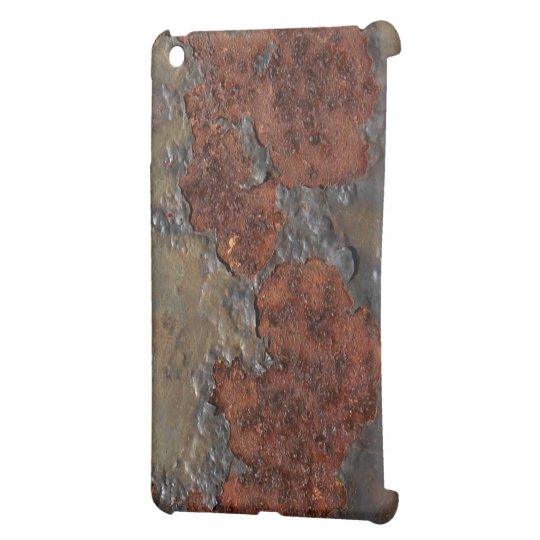 Faux rust texture (brown flaky rusted iron) pitted iPad mini cover