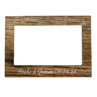 faux rustic barn wood country wedding magnetic photo frame