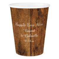 Faux Rustic Brown Barn Wood Country Wedding Paper Cup