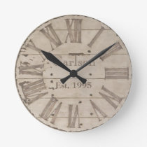 Faux rustic wood custom wall clock