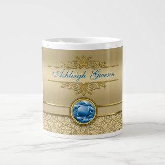 Faux Sapphire Blue Gemstone Metallic Gold Damask 20 Oz Large Ceramic Coffee Mug