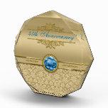 Faux Sapphire Blue Gemstone Metallic Gold Damask Award