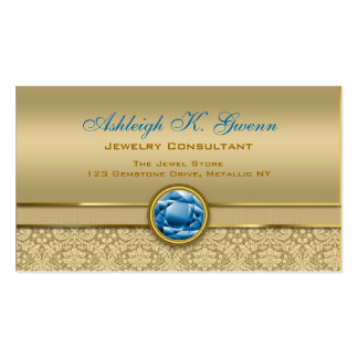 Faux Sapphire Blue Gemstone Metallic Gold Damask Double-Sided Standard Business Cards (Pack Of 100)