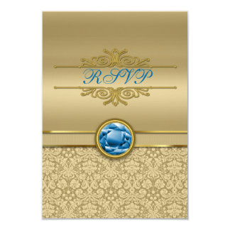 Faux Sapphire Blue Gemstone Metallic Gold Damask Card