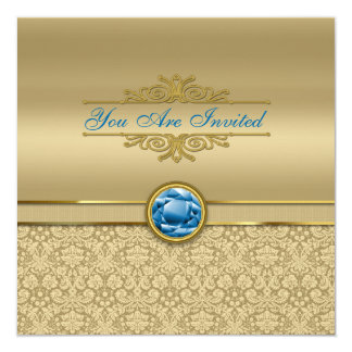 Faux Sapphire Blue Gemstone Metallic Gold Damask Card