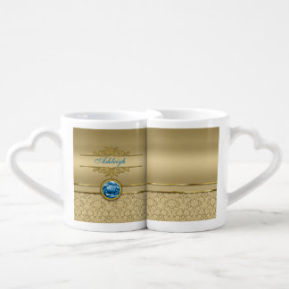 Faux Sapphire Blue Gemstone Metallic Gold Damask Couples' Coffee Mug Set