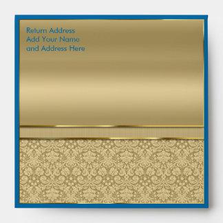 Faux Sapphire Blue Gemstone Metallic Gold Damask Envelope