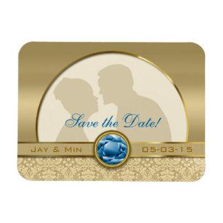Faux Sapphire Blue Gemstone Metallic Gold Damask Magnet