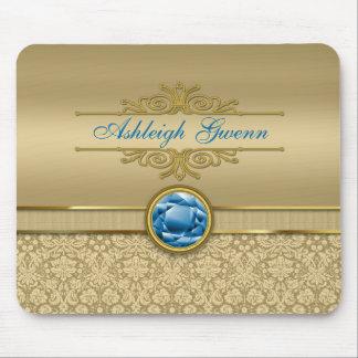 Faux Sapphire Blue Gemstone Metallic Gold Damask Mouse Pad
