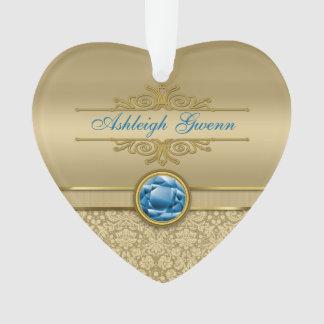 Faux Sapphire Blue Gemstone Metallic Gold Damask Ornament