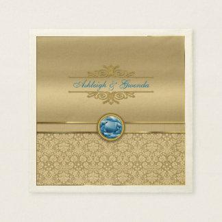 Faux Sapphire Blue Gemstone Metallic Gold Damask Paper Napkin