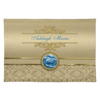 Faux Sapphire Blue Gemstone Metallic Gold Damask Placemat