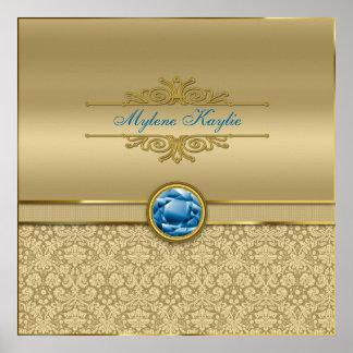 Faux Sapphire Blue Gemstone Metallic Gold Damask Print
