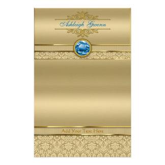 Faux Sapphire Blue Gemstone Metallic Gold Damask Stationery