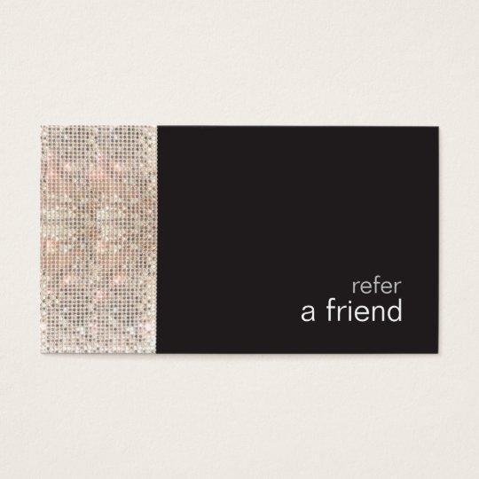 FAUX Sequins Beauty Salon Refer A Friend Black Business Card